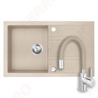 granitna-sudopera-i slavina-sa-fleksibilnim-izlivom-u-boji