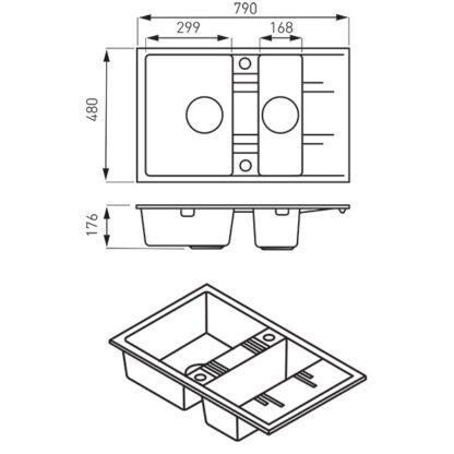 bež-dupla-granitna-sudopera-sa-ocedjivacem-DRGM3_48_79SA-skica