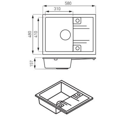 bež-mala-granitna-sudopera-sa-oceđivačem-DRGM48_58SA-skica